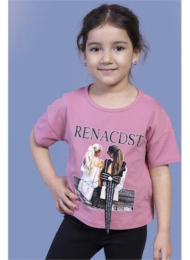Toontoy Kids Toontoy Kız Çocuk Dijital Baskılı Arkası Detaylı Tişört Renkli